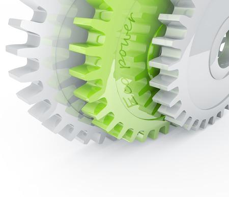 Green gear behind chrome mechanical gears photo