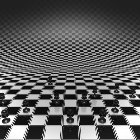 unendlich: Set Schachfiguren auf einem Schachbrett unendlich gro� Lizenzfreie Bilder