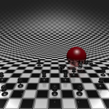 Set pawns and red ball on a chessboard infinitely large