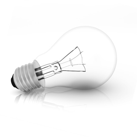 Light bulb on isolated white