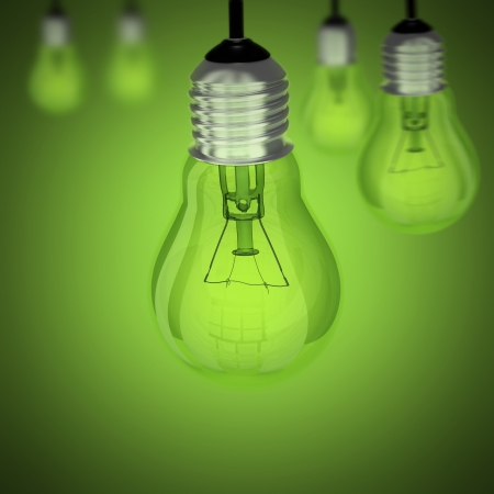 Light bulb on green and more bulbs Stock Photo