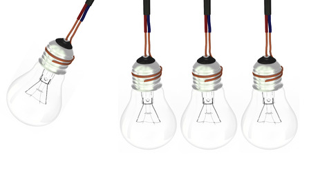 Light bulbs sets as newton balls Stock Photo