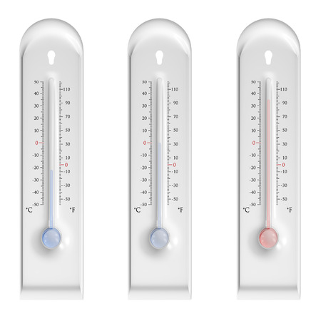 Three thermometers on white with high, low and zero temperature Stock Photo