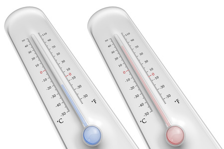 low temperature: Two thermometers on white background with high and low temperature