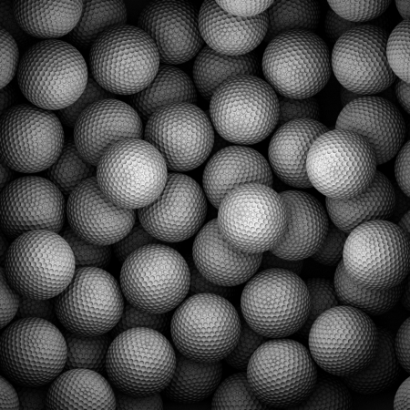 A lot of golf balls in container