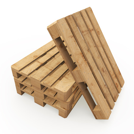 euro pallet: Three wooden pallets stacked and one based on them
