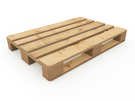 Exposed wooden pallet on a white background Stock Photo
