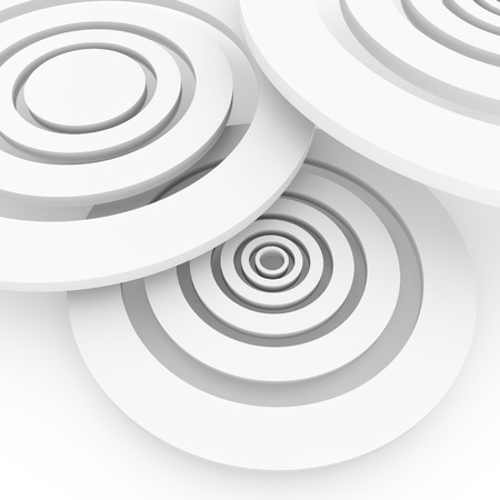 Light discs arranged in three-dimensional space on a white background.