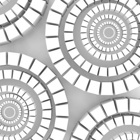 Light cubes arranged in circles on a gray background. Cubes are different sizes in the same color. Stock Photo