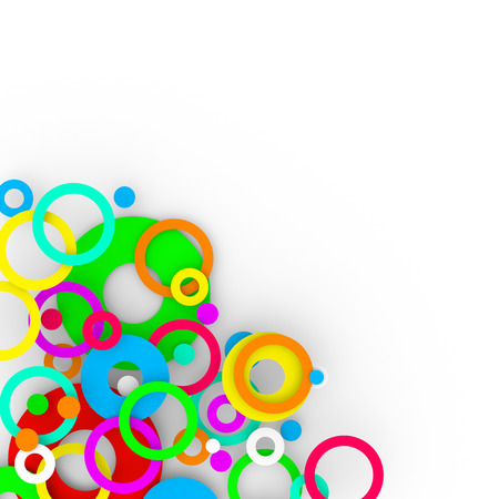Colorful rings arranged in a group on a white background. Rings are of different sizes.