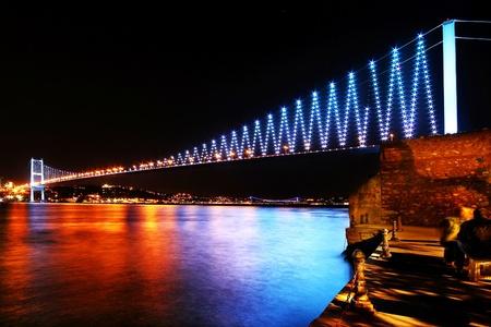 cable bridge: Istanbul Bosphorus Bridge in colors