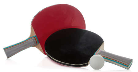 Table tennis rackets on a white isolated background. Sport game