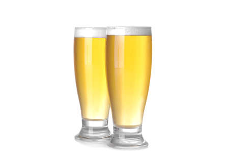 two glasses with a light beer on a white background. isolated