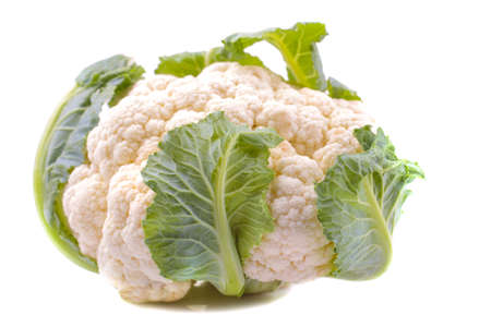 A head of fresh cauliflower on a white background close-up. isolated