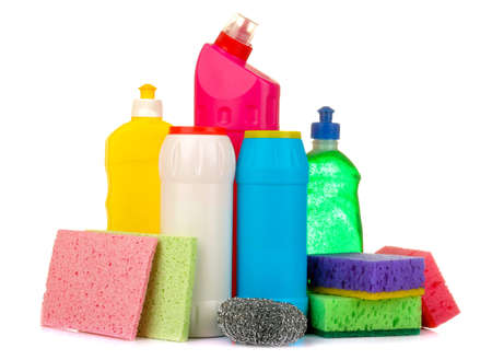 Bottles with cleaning products and detergents on a white isolated background. cleaning. cleaning products