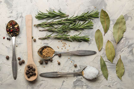 herbs and spices. various seasonings, herbs and spices on a light concrete background. top view 스톡 콘텐츠