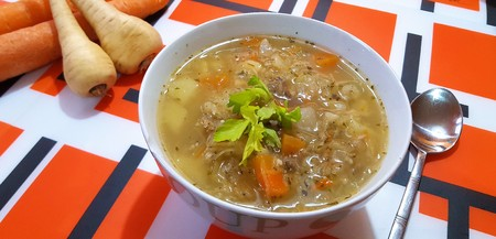 Homemade sauercraut soup in the bowl. Stock Photo