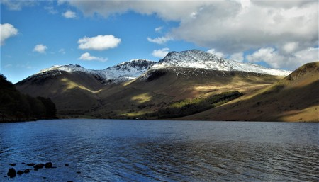 Scafell pike covered with snow.