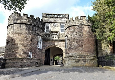 The main entrance gate to Skipton Castle. Editorial