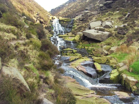 Water cascade at Greenfield reservoir, peak district national park. England