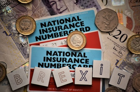 National insurance cards, brexit icon.