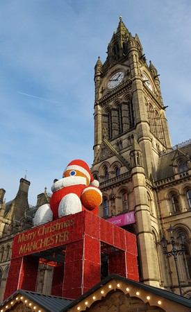 Manchester Town Hall entrance, decorated for Christmas Market.