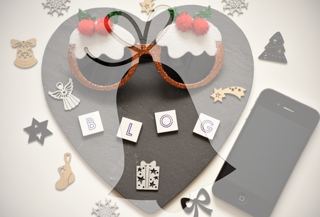 Capture of word ,,blog,, with christmas decorations.