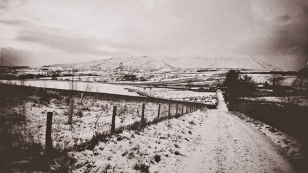 Pendle hill, Lancashire - England. The Pendle witch trials (1612). Aged looking picture.
