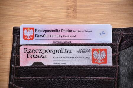 Polish old and  top one new ID card with chip , translation of description: Republic of poland Identity card