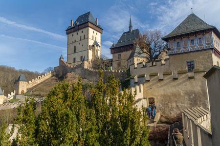 hill of the king: KARLSTEIN,CZECH REPUBLIC - FEBRUARY 6  2016: Karlstein castle ramparts