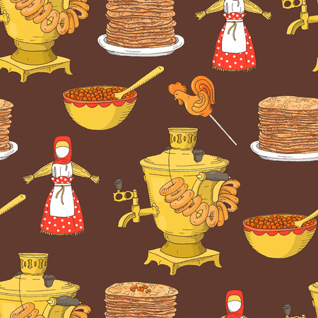 Hand drawn Shrovetide or Maslenitsa seamless pattern with samovar, pancakes, caviar on dark background. Greate Russian traditional holiday.