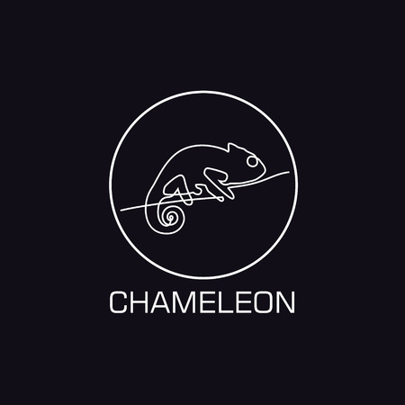One line chameleon logo. Minimalistic illustartion Иллюстрация
