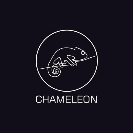 One line chameleon logo. Minimalistic illustartion Vectores