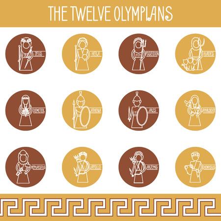 The Twelve Olympians icons set. Greek pantheon