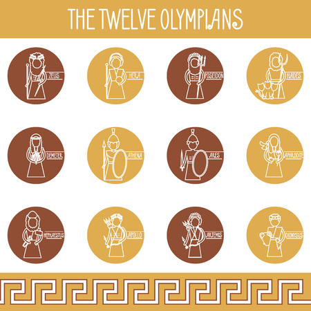 The Twelve Olympians icons set. Greek pantheon