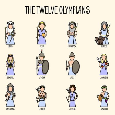 Zestaw ikon dwunastu olimpijczyków. Panteon grecki Ilustracje wektorowe