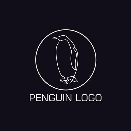 One line penguin logo. Minimalistic illustartion