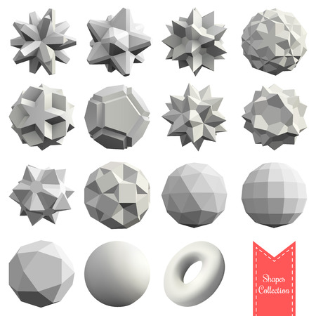 Collection of 15 3d geometric shapes in white color