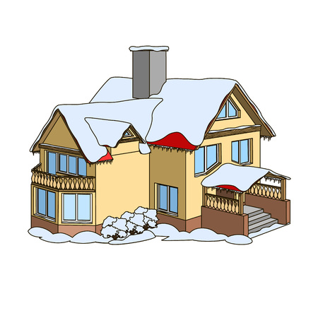 Cartoon house with a gable roof in winter holiday time