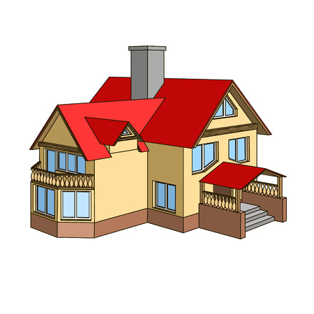 Cartoon house with a gable roof in summer time