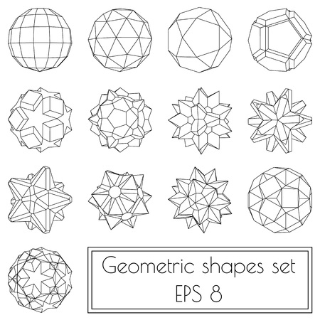 Collection of 13 3d geometric shapes in outlines