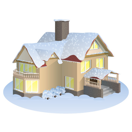 A two-storey house with a gable roof in winter holiday time