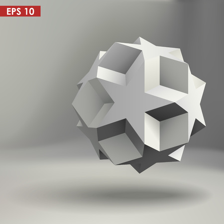3d geometric shape vector illustration. Realistic in white color