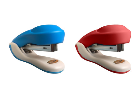Set of 2 staplers. Realistic vector illustration. Blue and red isolated on white background.