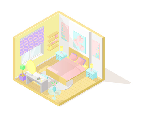Vector isometric low poly cutaway interior illustartion. Bedroom with bed, dressing table, nightstand and other furniture in pastel colors Illustration