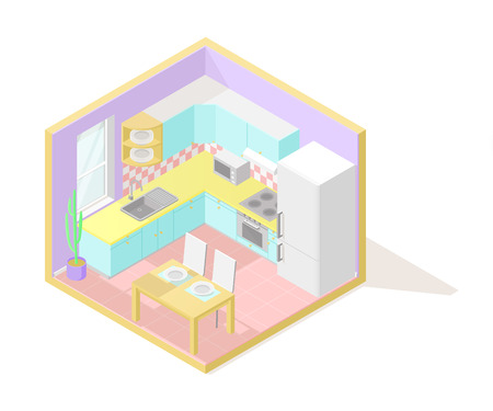 Vector isometric low poly cutaway interior illustartion. Kitchen with cupboards, table, fridge and other furniture and appliences in pastel colors Illustration