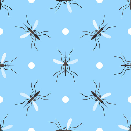 Vector seamless pattern with gnats and circles on blue background.