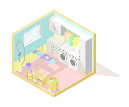 Vector isometric low poly cutaway interior illustartion. Utility and laundry room with washers, cupboards, ironing board and other furniture in pastel colors