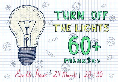 Earth hour hand drawn poster with lamp and inscription turn off the lights 60 minutes