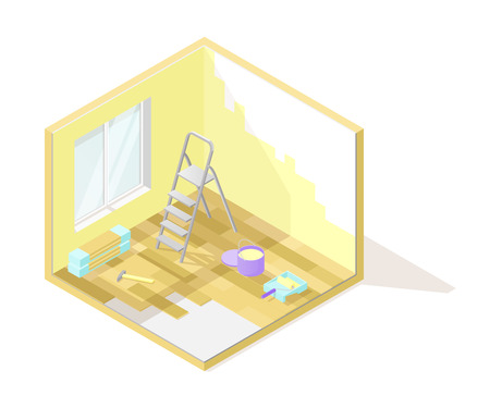 Vector isometric low poly cutaway interior illustartion. Room renovation with ladder, paint, hammer and other tools